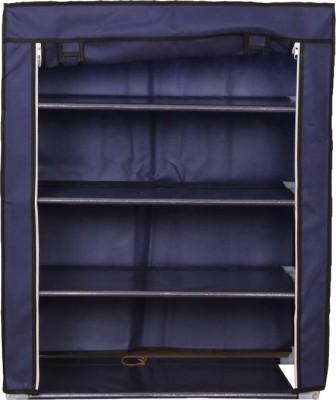 MOG 4 Layer Aluminium, Cotton Shoe Cabinet(Blue, 4 Shelves)