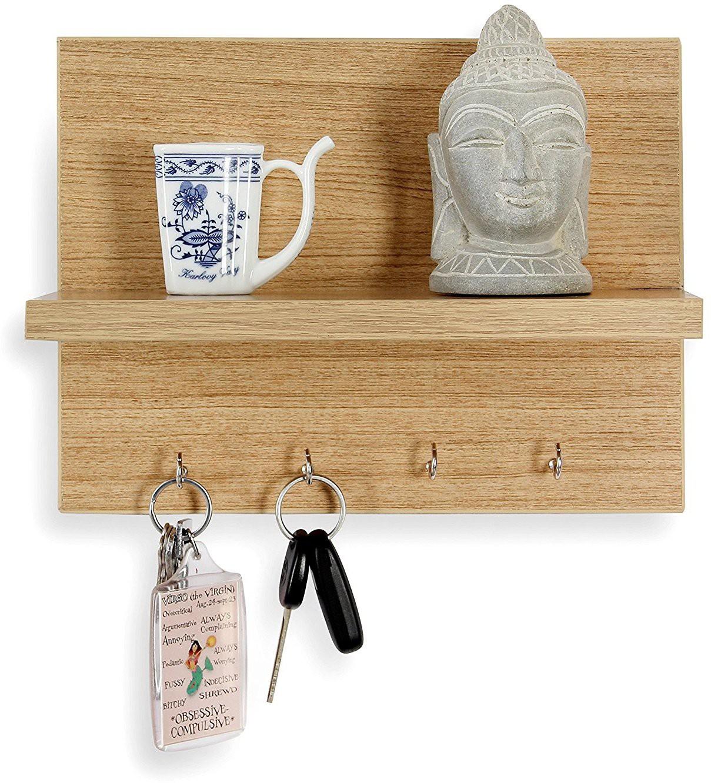 View Decorhand 4 Hooks Key holder Wooden Wall Shelf(Number of Shelves - 1, Beige) Furniture (Decorhand)