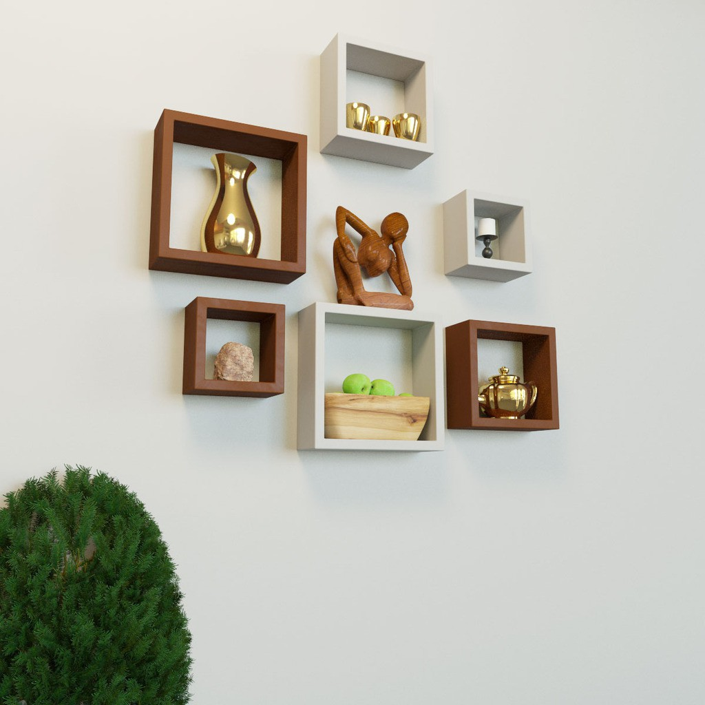 View DecorNation Nesting Square Shape MDF Wall Shelf(Number of Shelves - 6, White, Brown) Furniture (DecorNation)