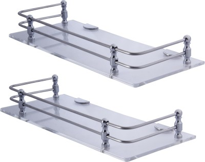 Dolphy Set of 2 Acrylic 12x5inch Stainless Steel Wall Shelf