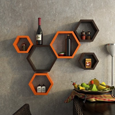 ENCORE DECOR Hexagon Shape set of 6 MDF Wall Shelf(Number of Shelves - 6, Brown, Orange) at flipkart