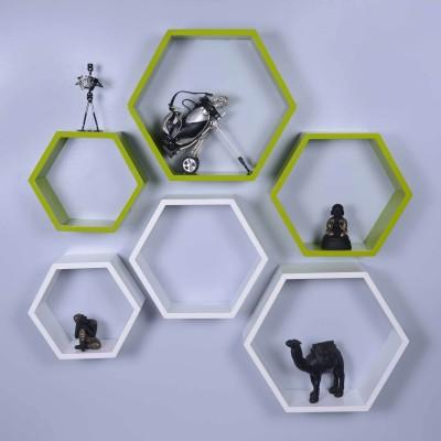 Dcjc Dcjc Hexagon Shelf Green/White - Set Of 6 MDF Wall Shelf