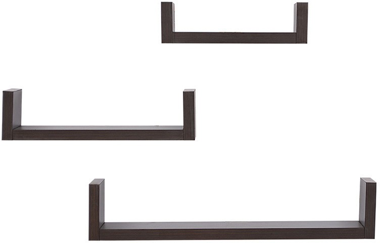 View Amour BS016 Wooden Wall Shelf(Number of Shelves - 3, Black) Furniture (Amour)