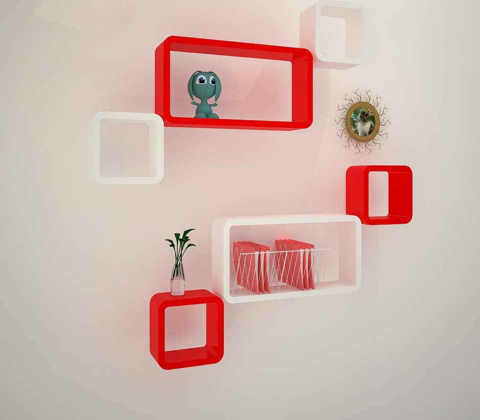 View DecorationShop MDF Wall Shelf(Number of Shelves - 6, Red, White) Furniture (DecorationShop)