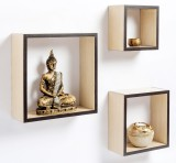 Bluewud MDF, Brass Wall Shelf (Number of...