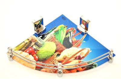 royaL indian craft 12 Inch Fruits Printed Glass Wall Shelf