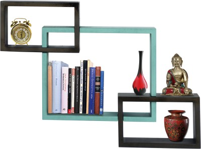Furniselan interlocking Green MDF Wall Shelf