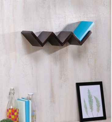 Onlineshoppee Solid Wood Open Book Shelf(Finish Color - Walnut Brown)
