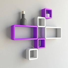 Onlineshoppee MDF Wall Shelf(Number of Shelves - 6, Purple, White)