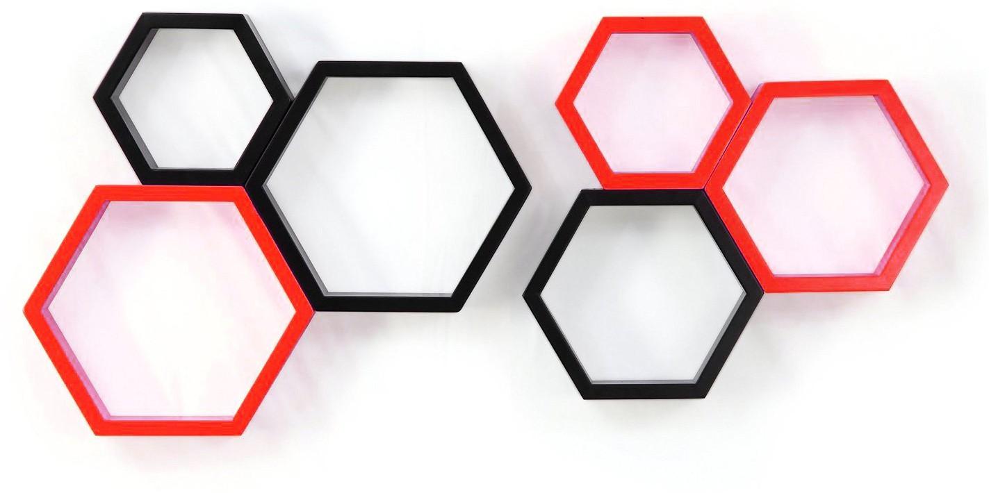 View Custom Decor Hexagon Wooden Wall Shelf(Number of Shelves - 6, Black, Red) Furniture (Custom Decor)