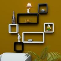 DriftingWood Cube Rectangle Wooden Wall Shelf(Number of Shelves - 6, Black, White)