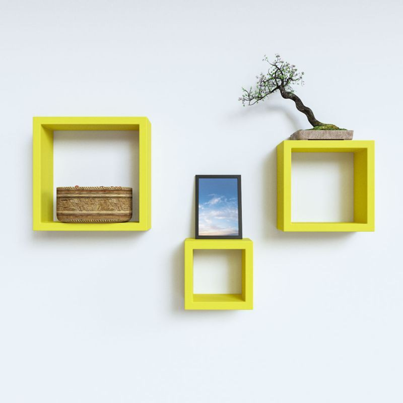 View Decoration Shop MDF Wall Shelf(Number of Shelves - 3, Yellow) Furniture (Decoration Shop)
