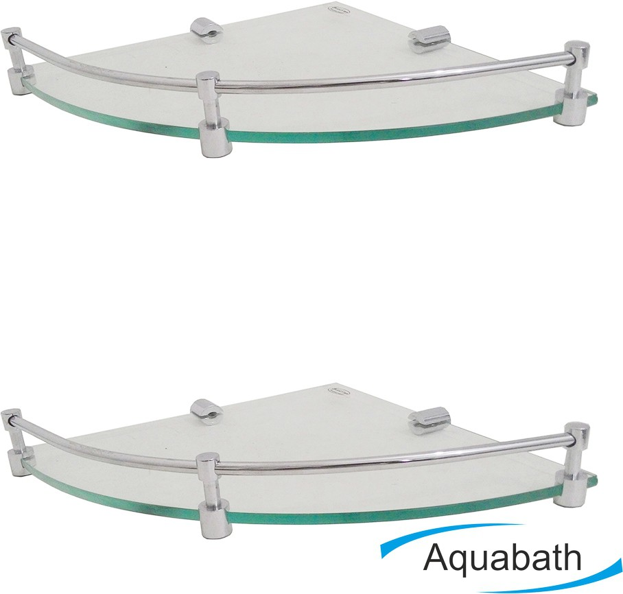 View Aquabath ROUND Corner PACK OF 2 12x12 With Brass Material Brass, Glass Wall Shelf(Number of Shelves - 2, Clear) Furniture (Aquabath)