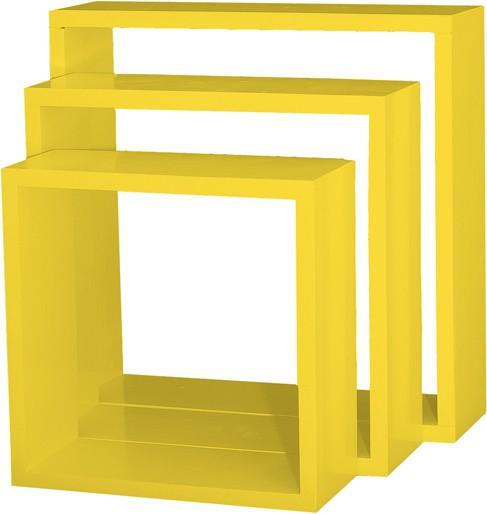View Custom Decor Nesting Wooden Wall Shelf(Number of Shelves - 3, Yellow) Furniture (Custom Decor)