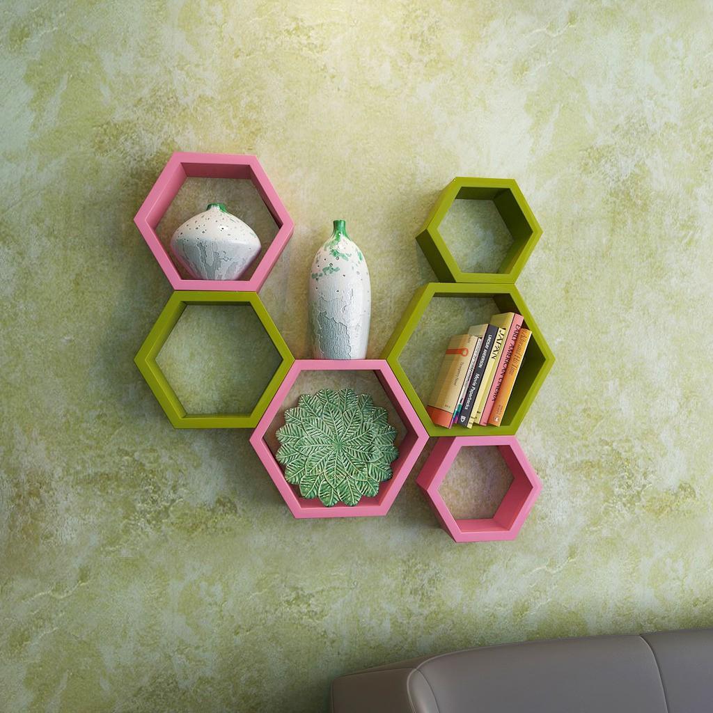 View DecorNation Hexagon Shape MDF Wall Shelf(Number of Shelves - 6, Green, Pink) Price Online(DecorNation)