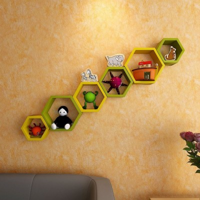 ENCORE DECOR Hexagon Shape MDF Wall Shelf(Number of Shelves - 6, Yellow, Green) at flipkart