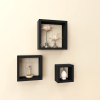 eCraftIndia Set of 3 Square Nested Blocks Multiutility Wooden Wall Shelf(Number of Shelves - 3, Black)
