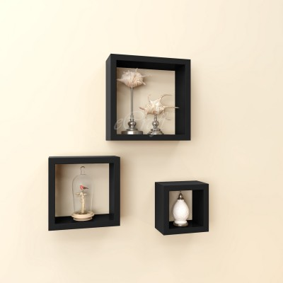 eCraftIndia Set of 3 Square Nested Blocks Multiutility Wooden Wall Shelf
