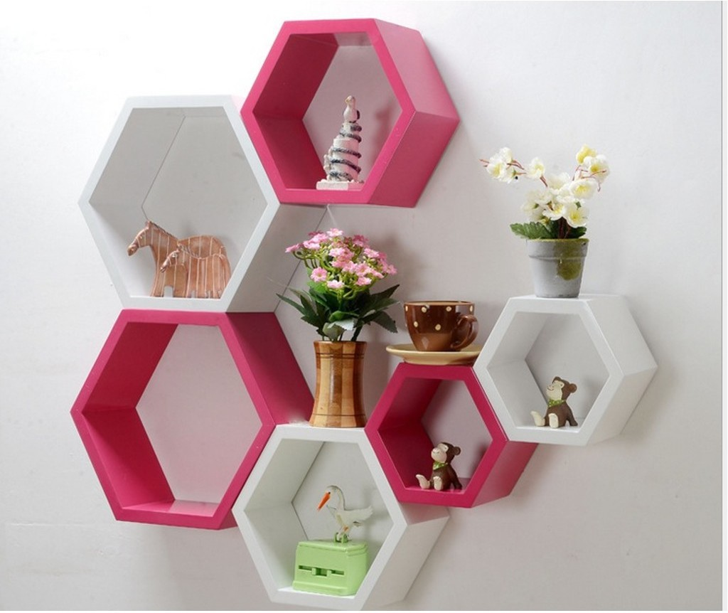 View Decor India Craft MDF Wall Shelf(Number of Shelves - 6, White, Pink) Furniture (Decor India Craft)