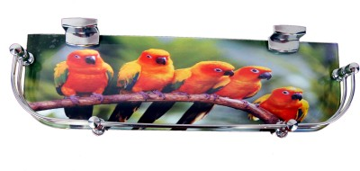 royaL indian craft Multi Color Printed Glass Wall Shelf