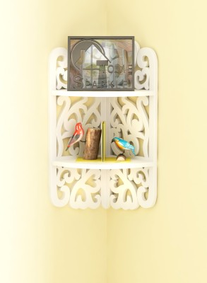 Home Sparkle 3 Tier Carved Corner MDF Wall Shelf(Number of Shelves - 2, White)