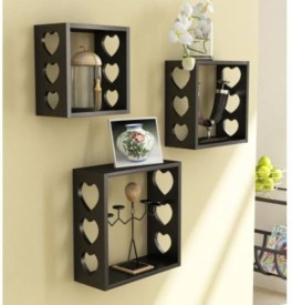VAS Collection Home Wooden Wall Shelf(Number of Shelves - 3, Black)