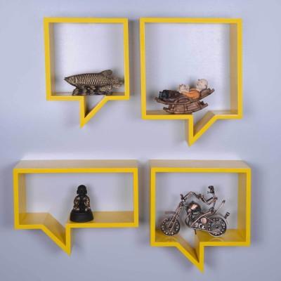 Dcjc Dcjc Dialouge Shelf Yellow - Set Of 4 MDF Wall Shelf