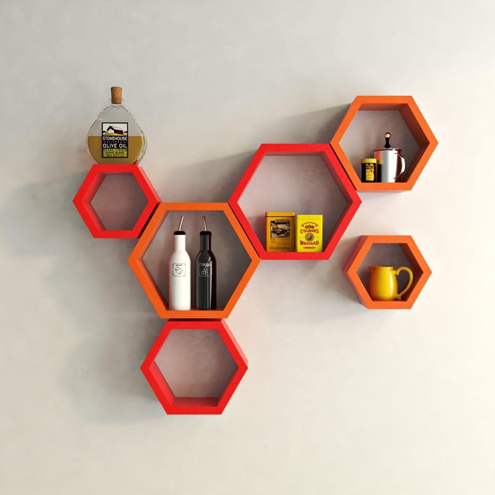 View DecorNation Hexagon Shape MDF Wall Shelf(Number of Shelves - 6, Red, Orange) Price Online(DecorNation)