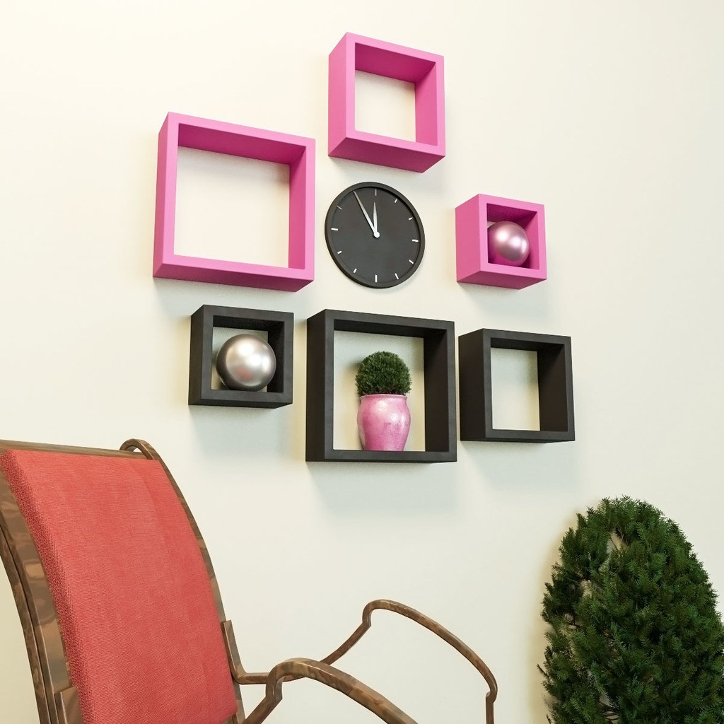 View DecorNation Nesting Square Shape MDF Wall Shelf(Number of Shelves - 6, Pink, Black) Furniture (DecorNation)