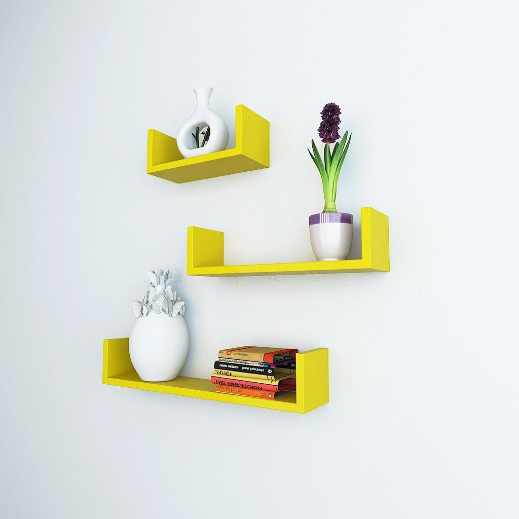 View DecorationShop MDF Wall Shelf(Number of Shelves - 3, Yellow) Furniture (DecorationShop)