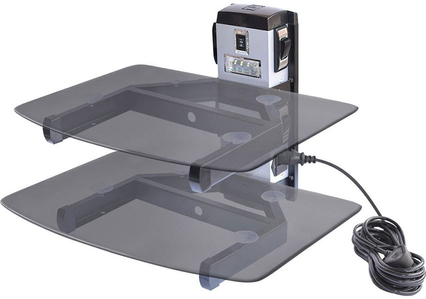 Goods Bazaar Double Glass Shelf with LED Light Sockets Switches & Power Cable Glass, White Metal Wall Shelf