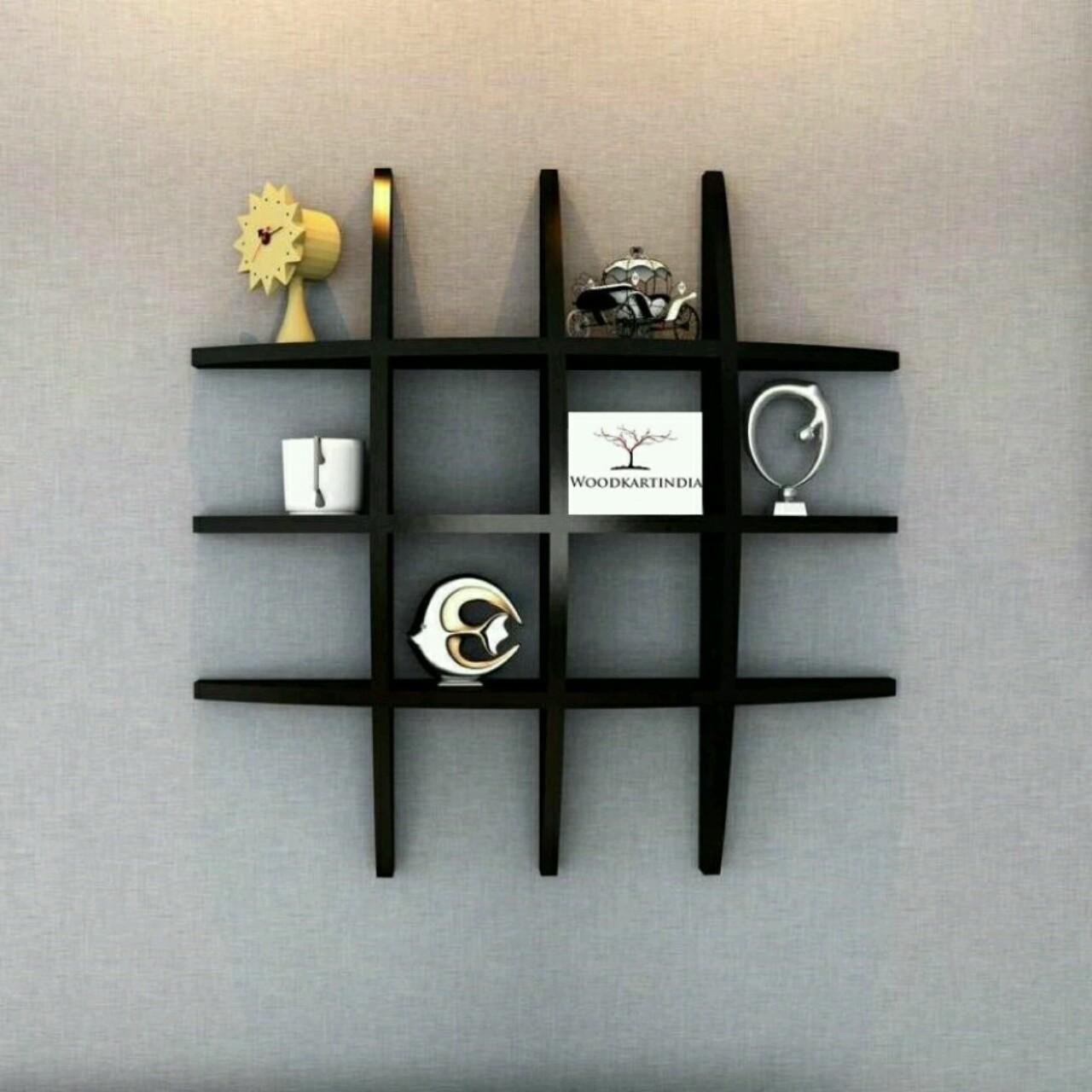 View OnlinePurchas Net Shape Wooden Wall Shelf(Number of Shelves - 6, Black) Furniture (OnlinePurchas)