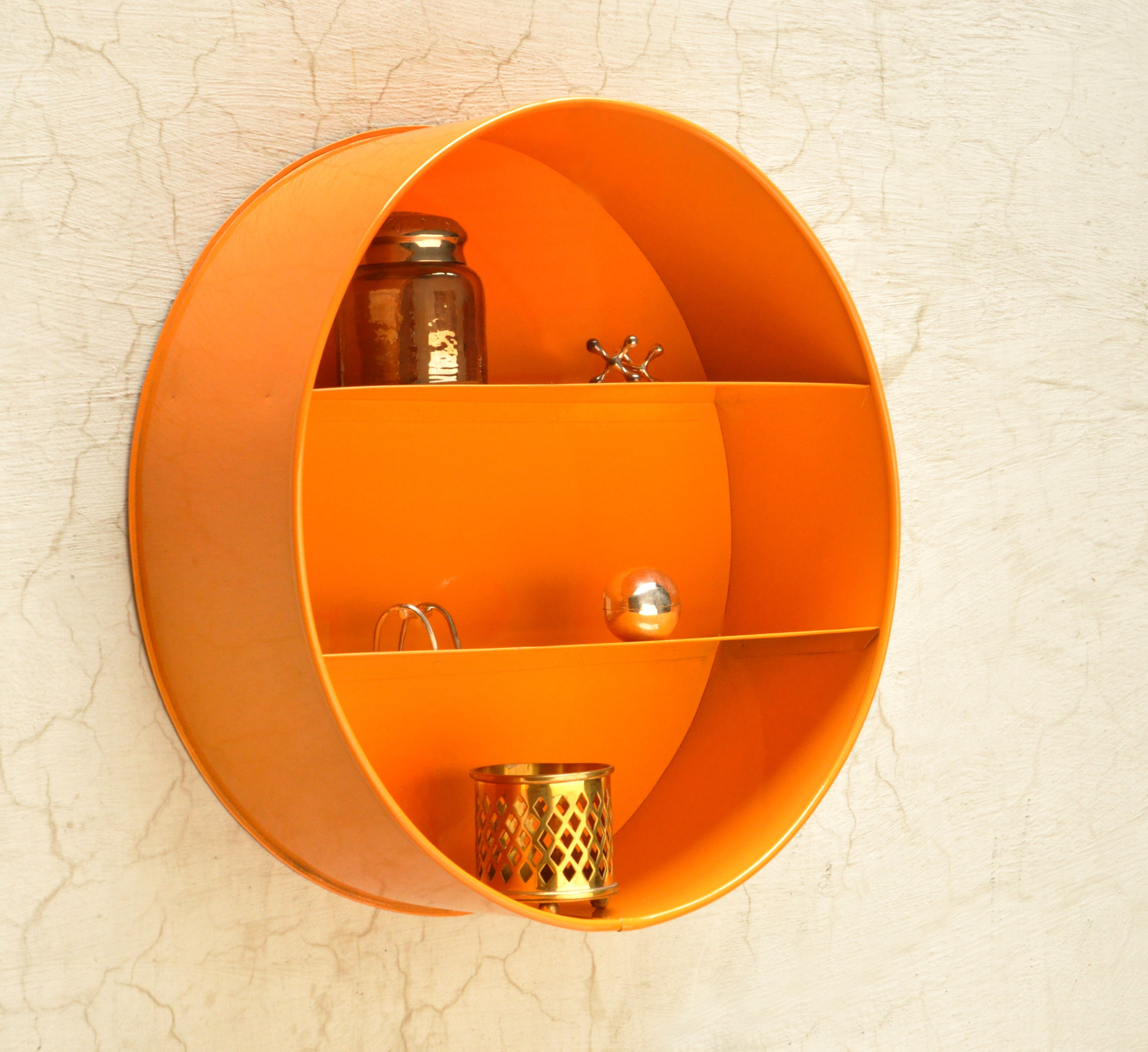View Logam Metal Sphere Orange Iron Wall Shelf(Number of Shelves - 2, Orange) Furniture (Logam)