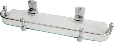 AQUABATH Taj Piler Shelf 18X5.5 Glass Wall Shelf(Number of Shelves - 1, Clear)