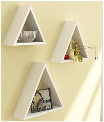 Onlineshoppee Home Decor Premium Solid Wood 3 Triangular Shelves - White Wooden Wall Shelf