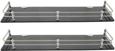 Dolphy Set Of 2 Smoke Shelf-18x5 Inch Microfibre, Stainless Steel Wall Shelf