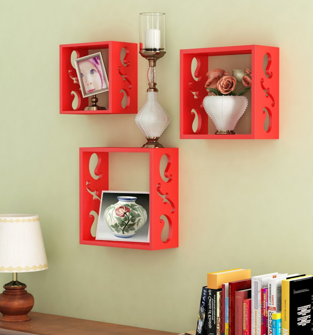 View Decorhand Wooden Wall Shelf(Number of Shelves - 3, Red) Furniture (Decorhand)