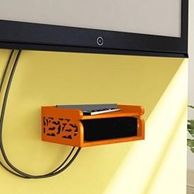 Onlineshoppee Set Top Box Holder cum Remote Organizer Wooden Wall Shelf(Number of Shelves - 2, Orange)