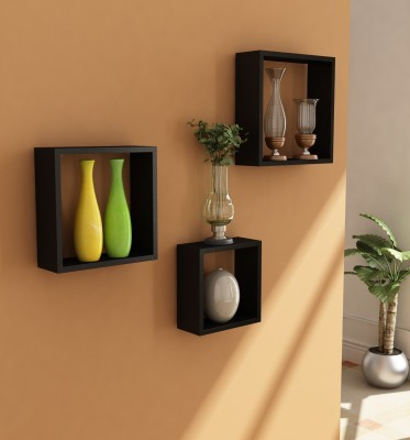 Home Sparkle Wooden Wall Shelf(Number of Shelves - 3, Black)