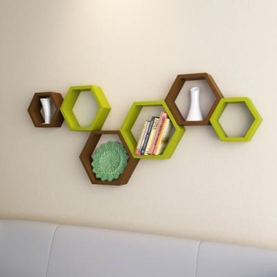 Ganeshaas Gphxd008gbr Green N Brown Beehive Hexagon Floating MDF Wall Shelf