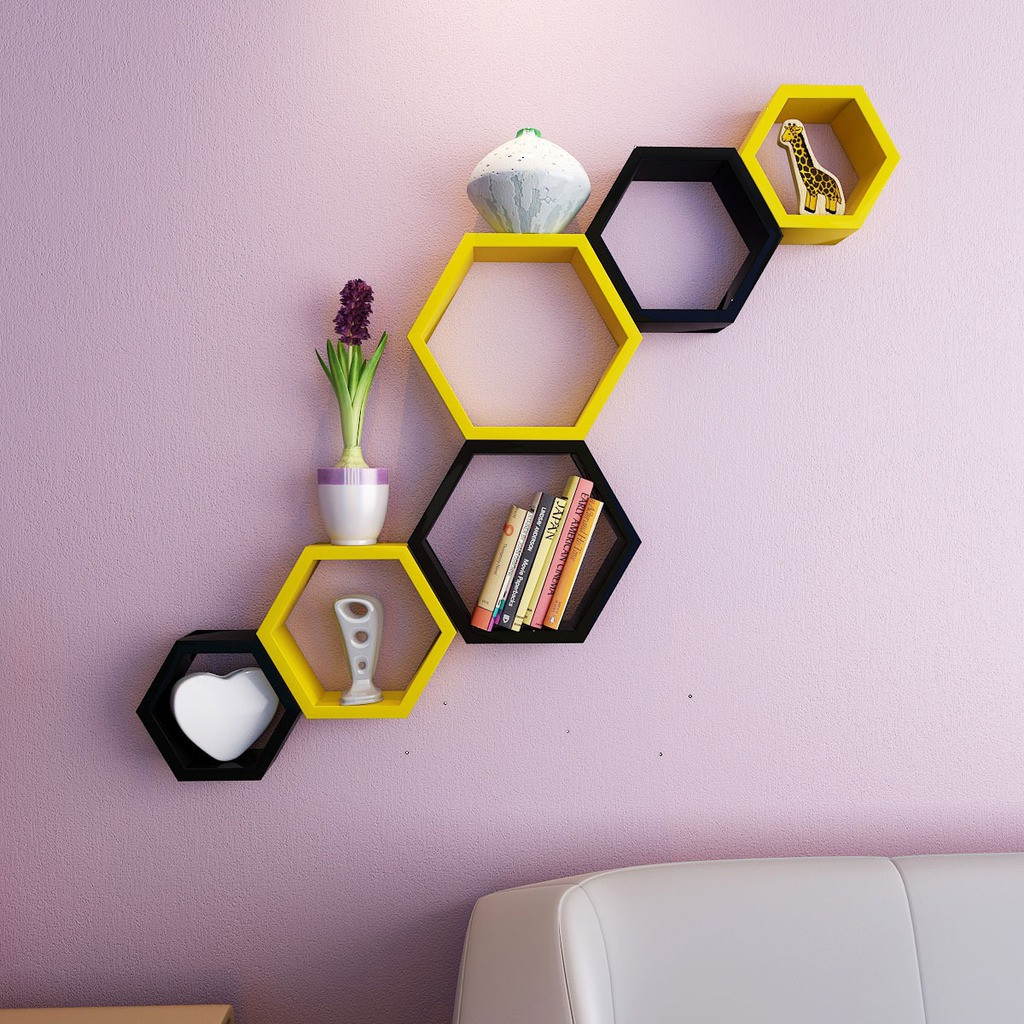 View DecorNation Hexagon Shape MDF Wall Shelf(Number of Shelves - 6, Yellow, Black) Furniture (DecorNation)