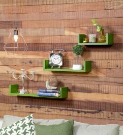 Onlineshoppee Wooden Wall Shelf(Number of Shelves - 3, Green)