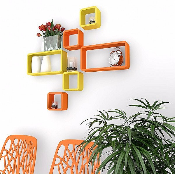 View DecorationShop MDF Wall Shelf(Number of Shelves - 6, Orange, Yellow) Furniture (DecorationShop)