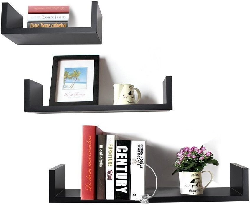 View Encore Decor U Shape MDF Wall Shelf(Number of Shelves - 3, Black) Furniture (Encore Decor)