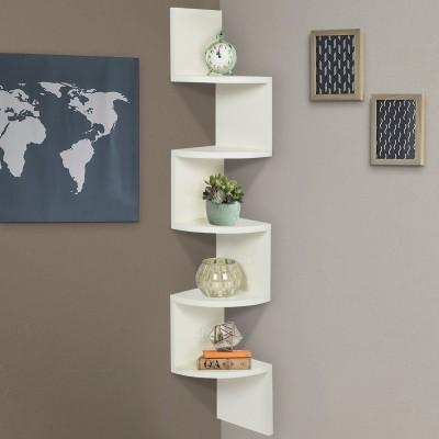 ENCORE DECOR Corner Zigzag - White MDF Wall Shelf(Number of Shelves - 5, White)