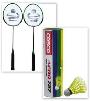 Cosco CB-88 and shuttle cock of nylon aero 727 G5 Strung Badminton Racquet
