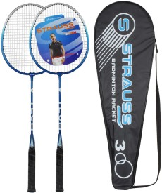 Strauss V Tech 1012 Badminton Racquet 2 Pieces with Cover (Black/Blue) G4 Strung Badminton Racquet
