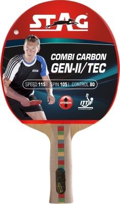 Stag Combi Carbon Gen 2 With Deluxe Case Flat Grip Unstrung Table Tennis Racquet