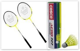 Cosco CB-300 and aero 727 nylon shuttle cock G5 Strung Badminton Racquet