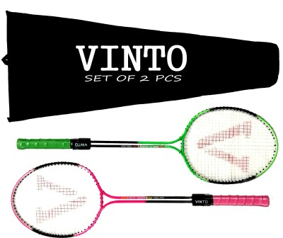 Vinto FLUROCENT DOUBLE ROD FULL SIZE SET OF 2 WITH COVER g4 Strung Badminton Racquet